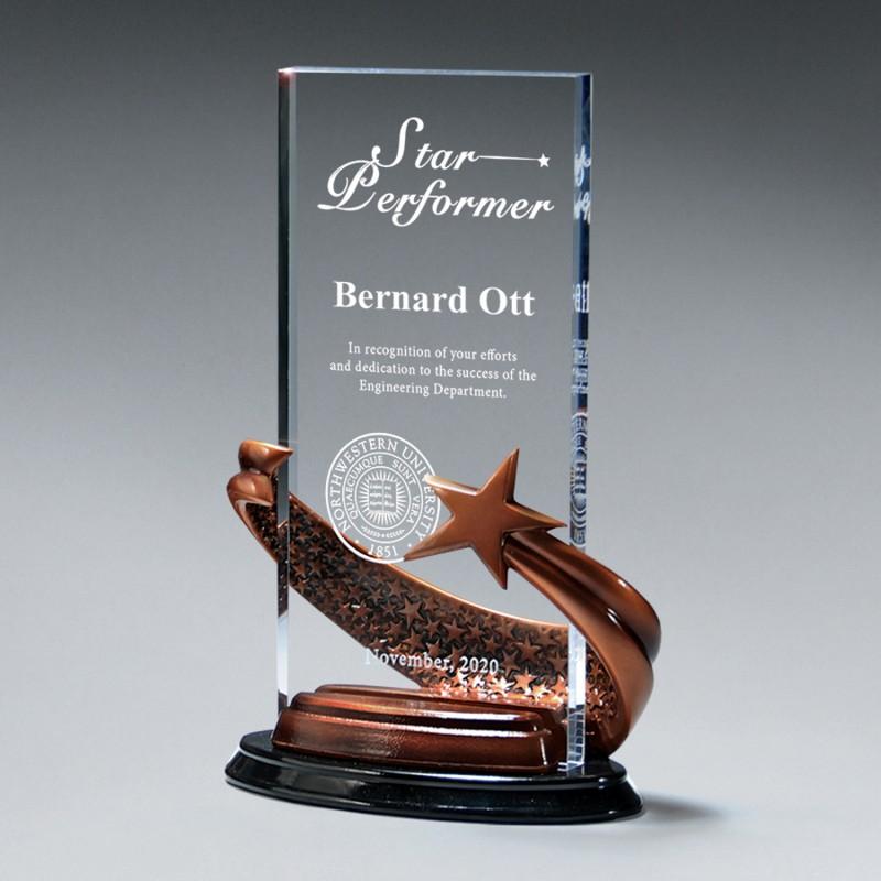 Clear Acrylic Award, Shooting Star Wrapped Around Acrylic Upright